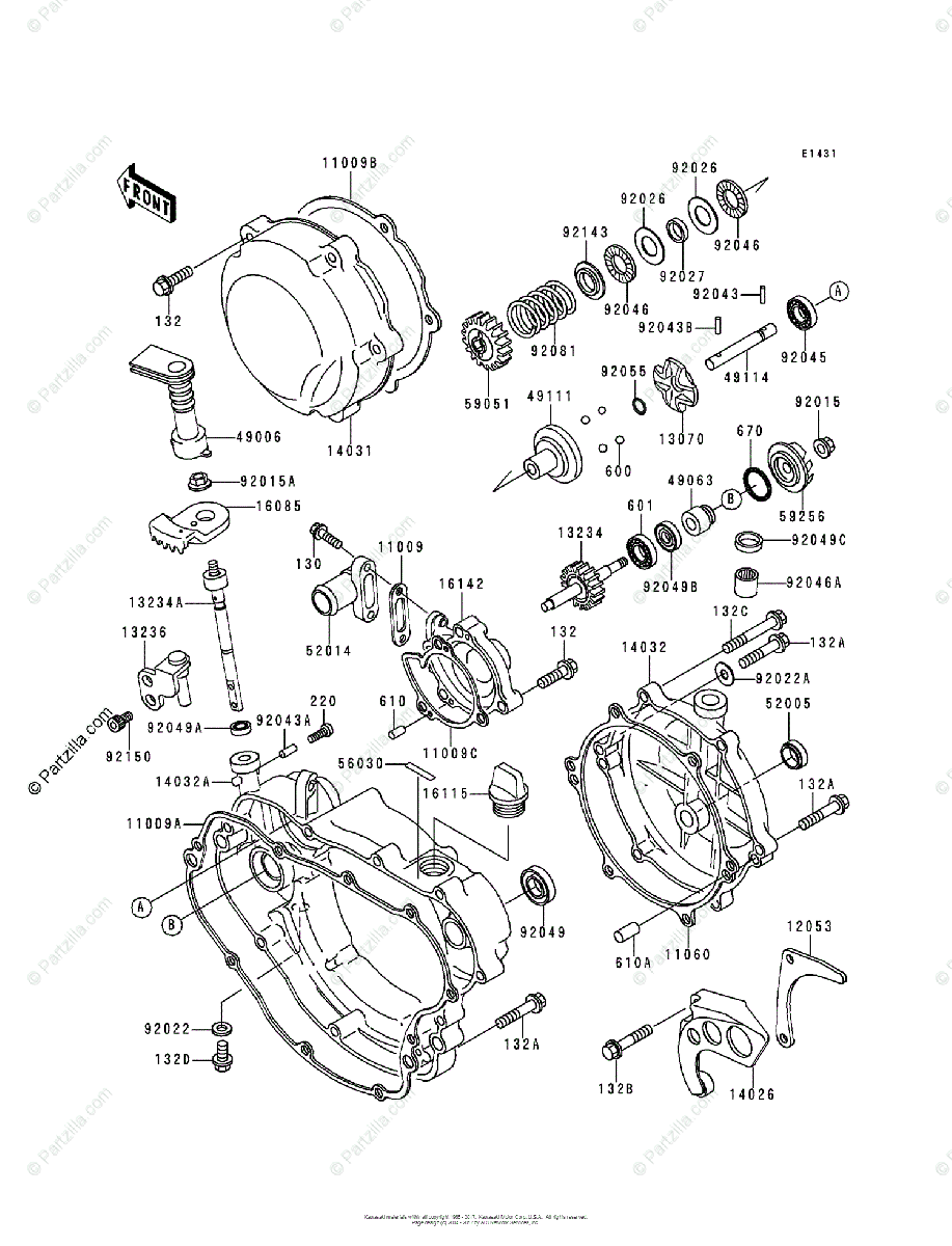 Kawasaki Motorcycle 1996 OEM Parts Diagram for Engine