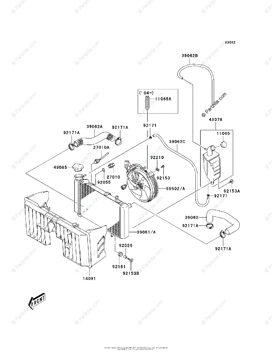 Kawasaki ATV 2005 OEM Parts Diagram for Radiator