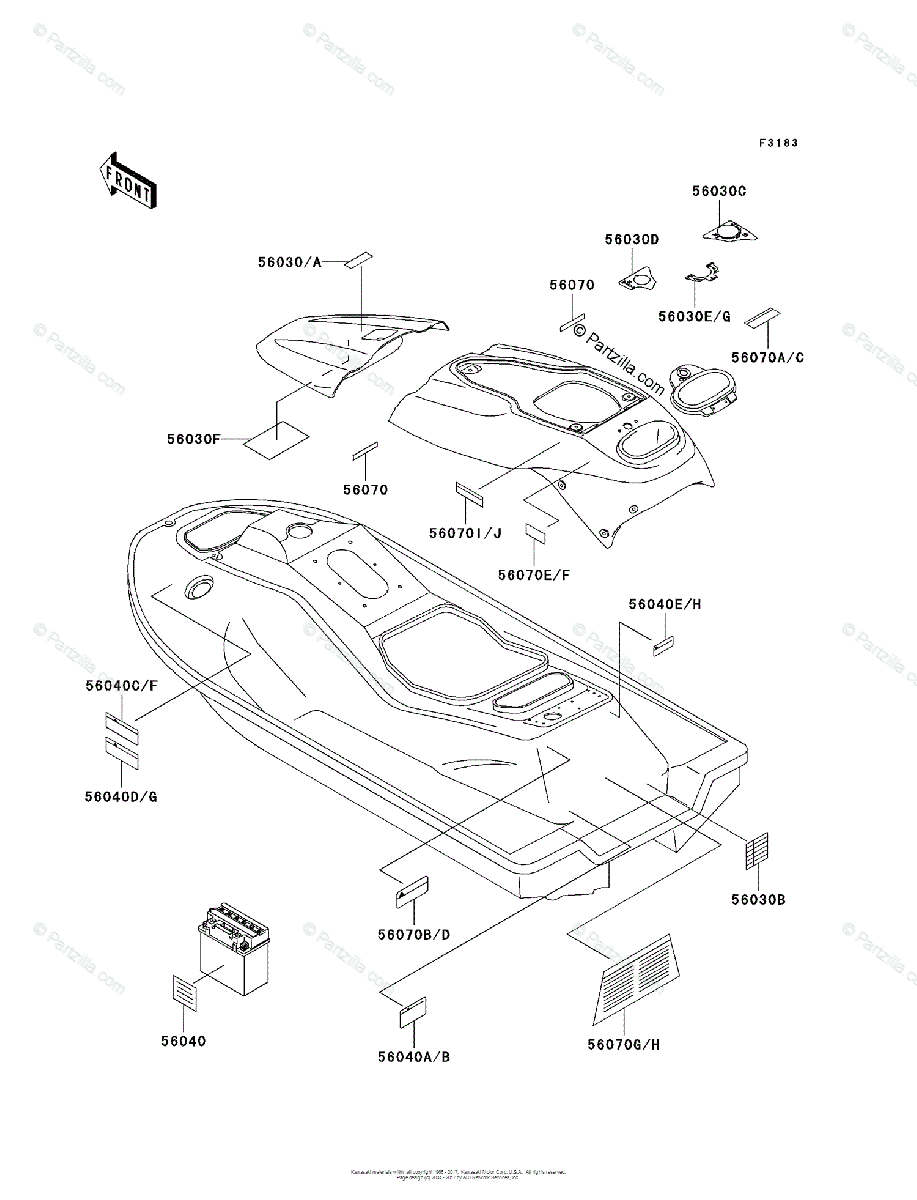 Kawasaki Jet Ski 1996 OEM Parts Diagram for Labels