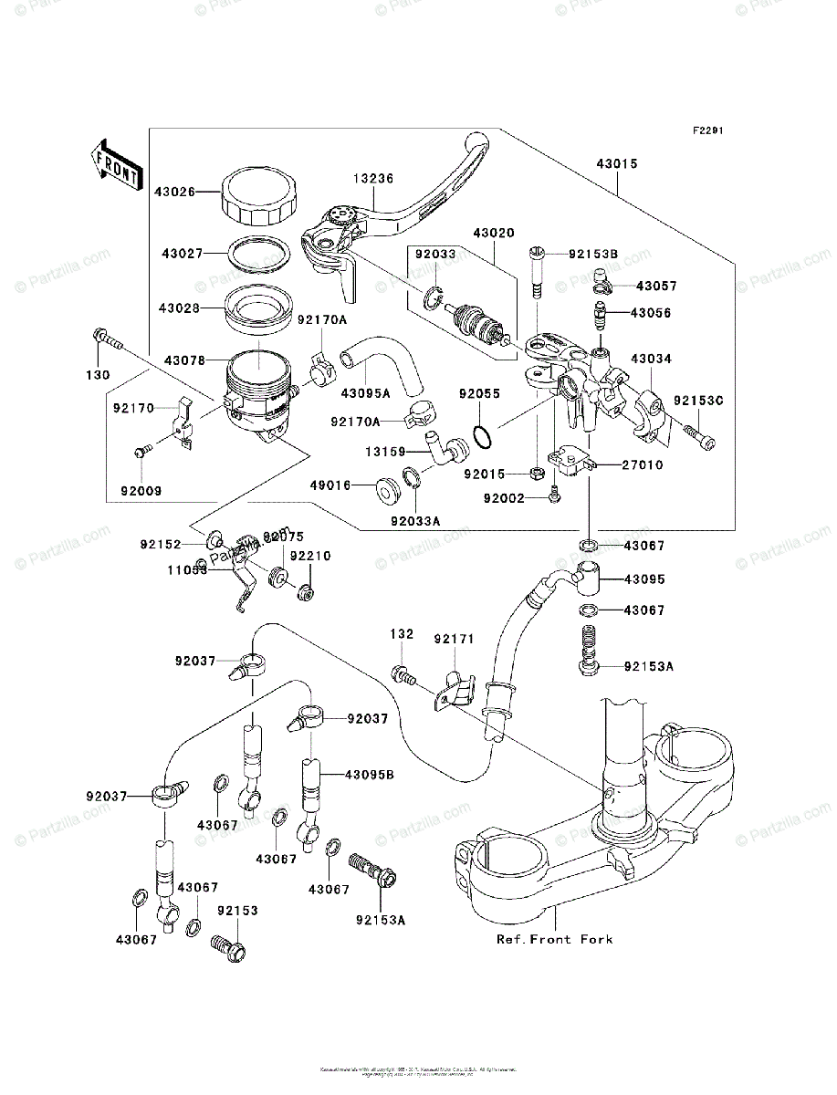 Kawasaki Motorcycle 2005 OEM Parts Diagram for FRONT