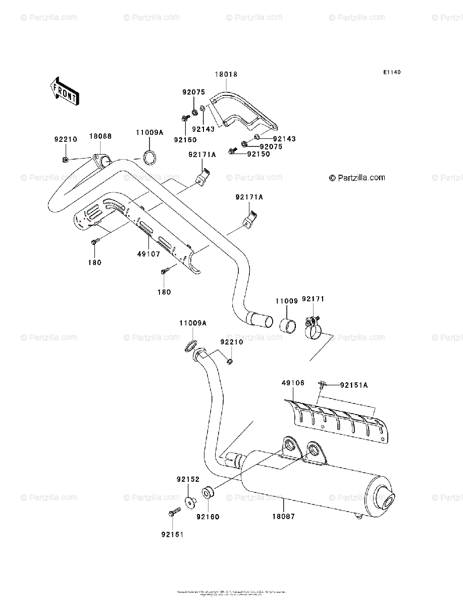 Kawasaki ATV 2004 OEM Parts Diagram for Muffler(s