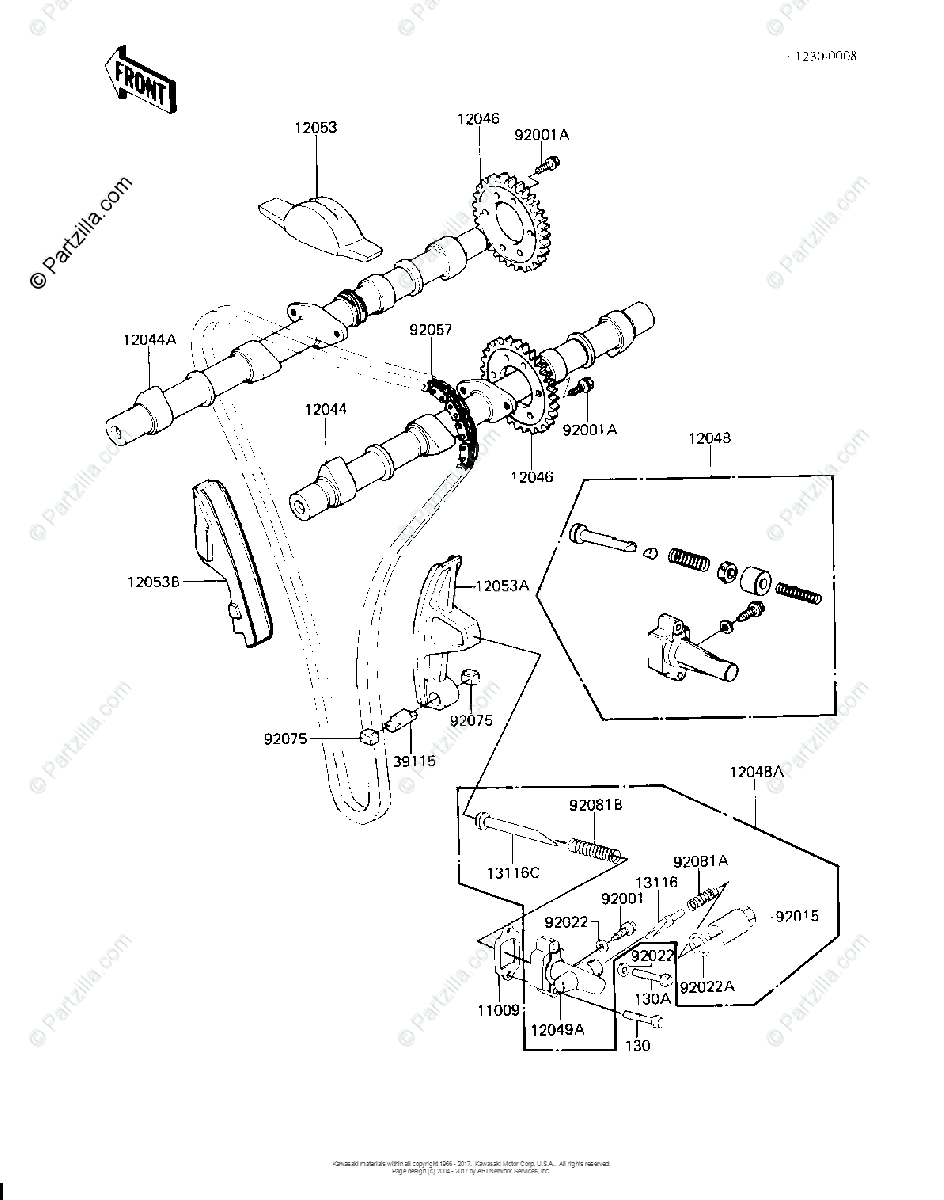 Kawasaki Motorcycle 1981 OEM Parts Diagram for CAMSHAFTS
