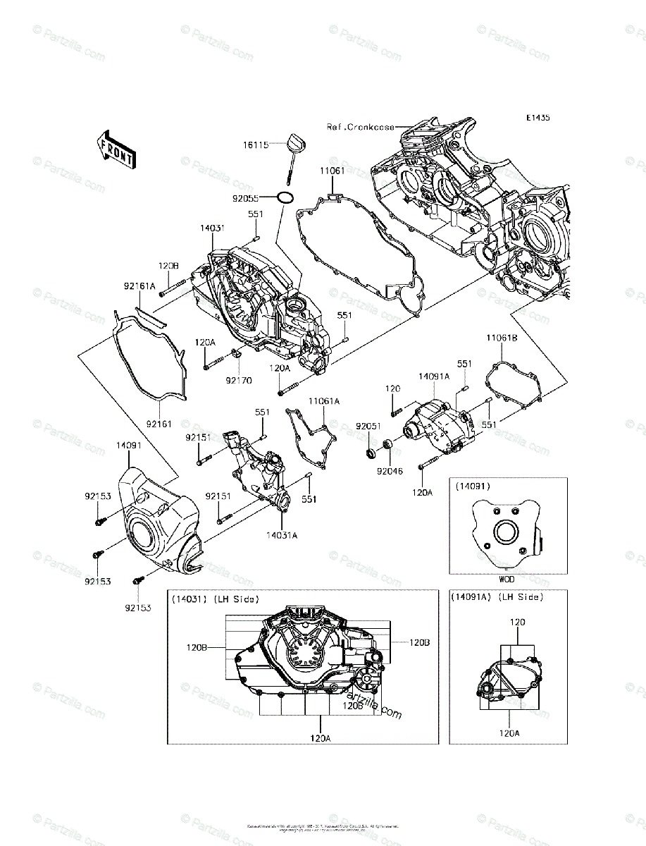 Kawasaki Motorcycle 2015 OEM Parts Diagram for Left Engine