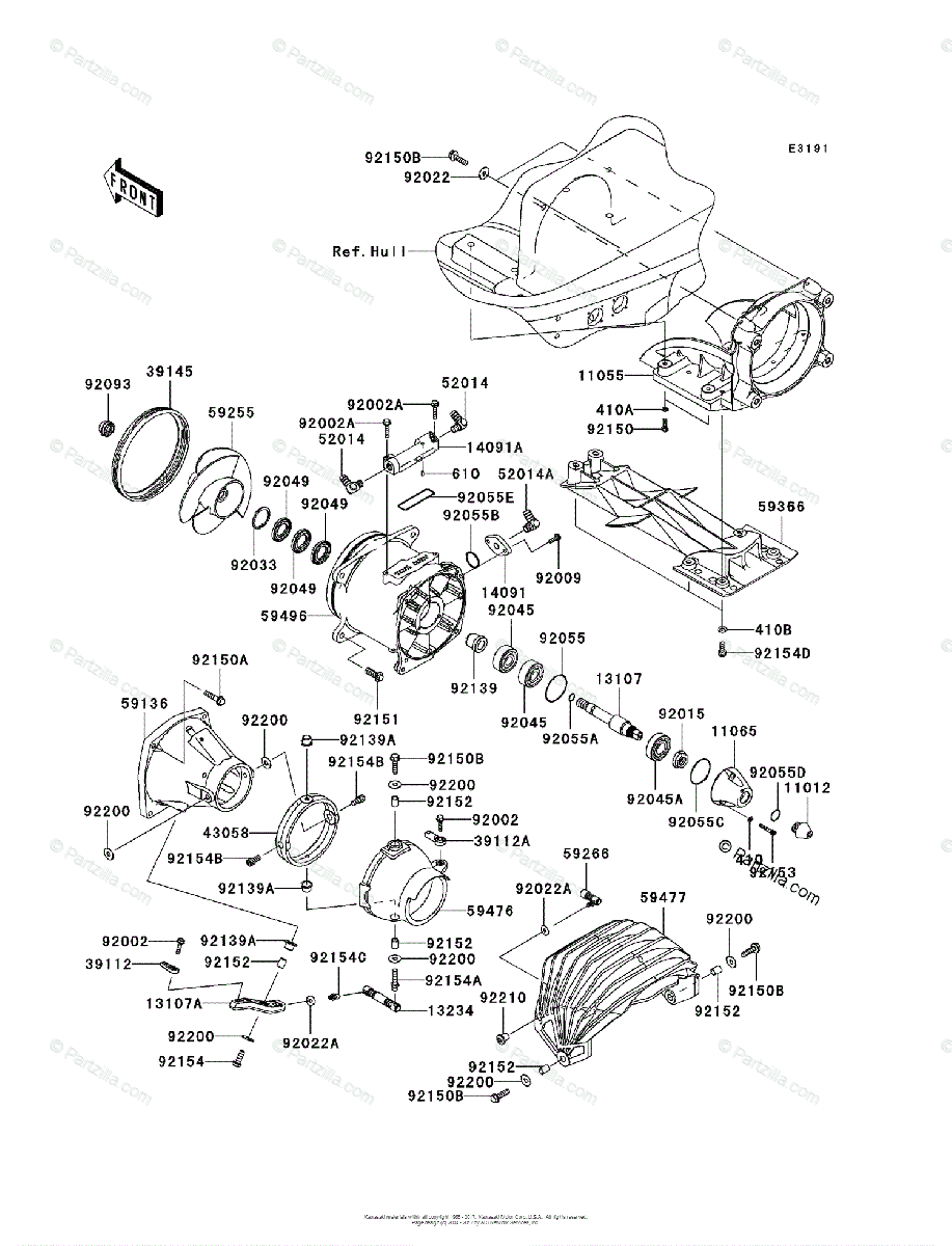 Kawasaki Jet Ski 2011 OEM Parts Diagram for Jet Pump