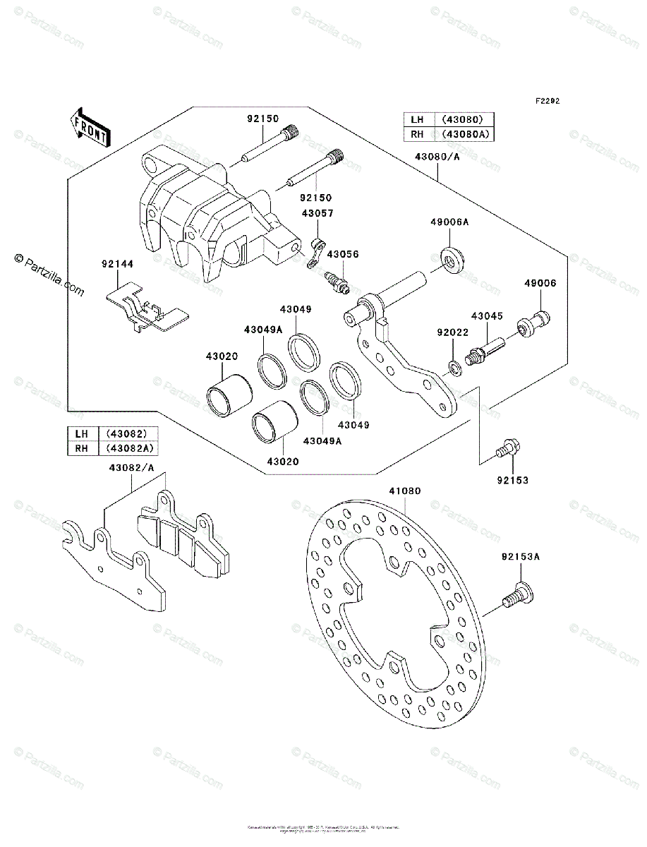Kawasaki Side by Side 2008 OEM Parts Diagram for Front