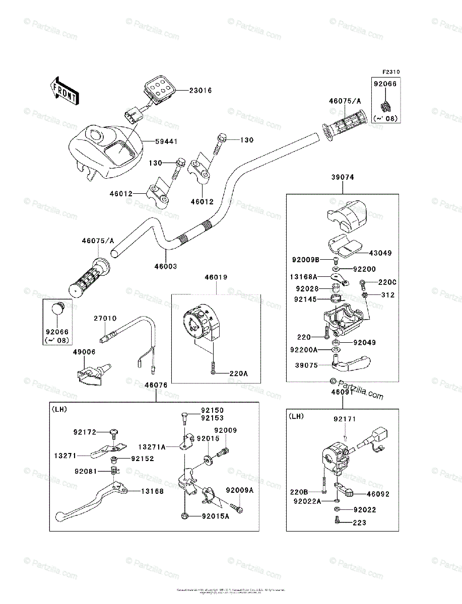 Kawasaki ATV 2009 OEM Parts Diagram for Handlebar