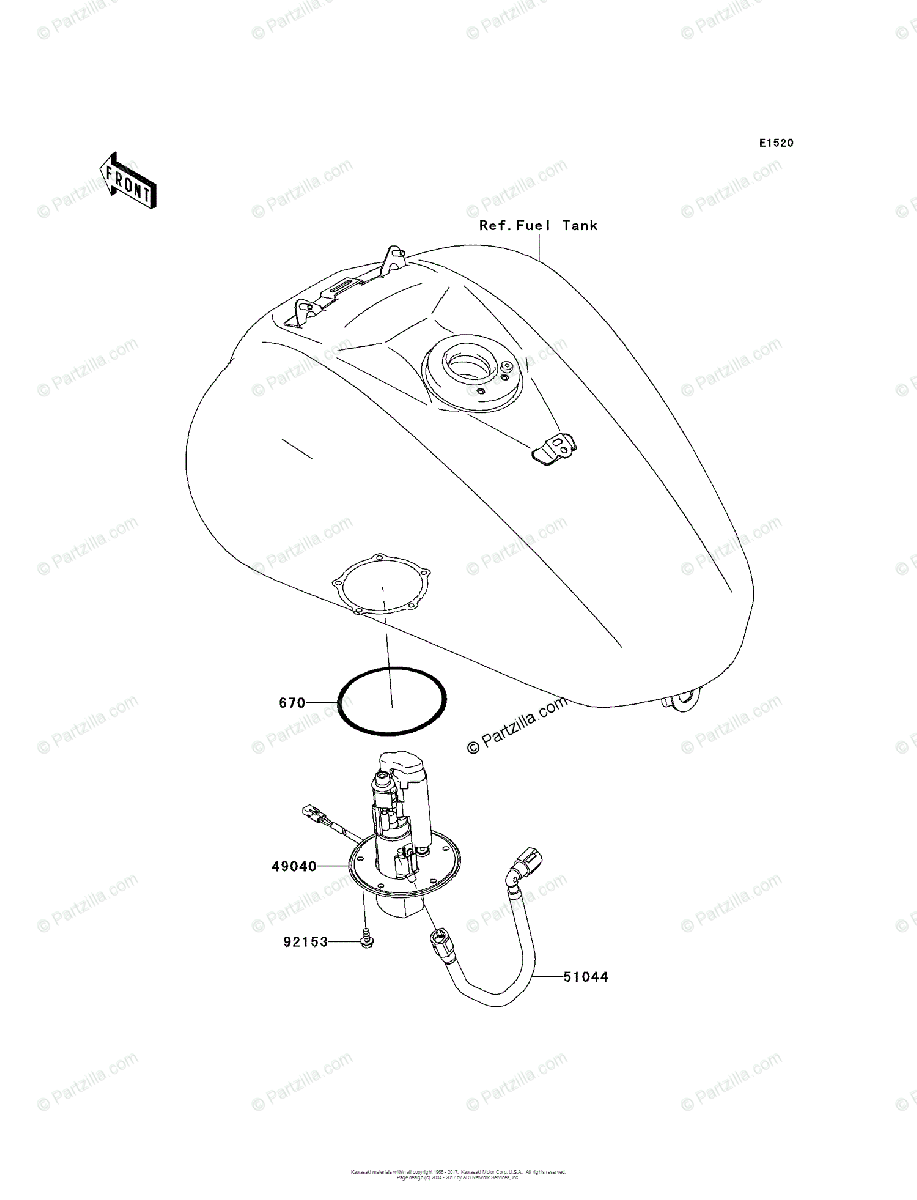 Kawasaki Motorcycle 2004 OEM Parts Diagram for FUEL PUMP
