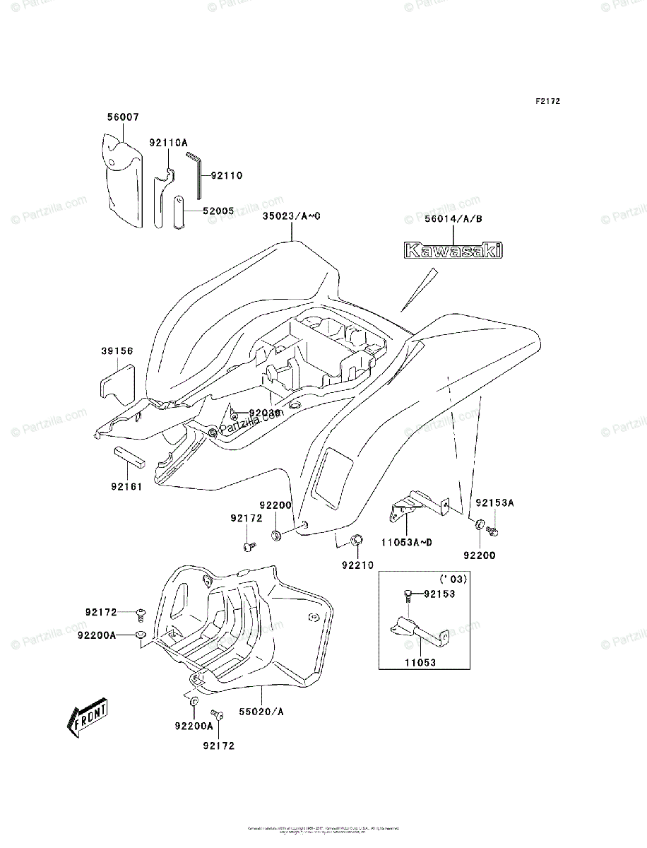 Kawasaki ATV 2005 OEM Parts Diagram for Rear Fender(s