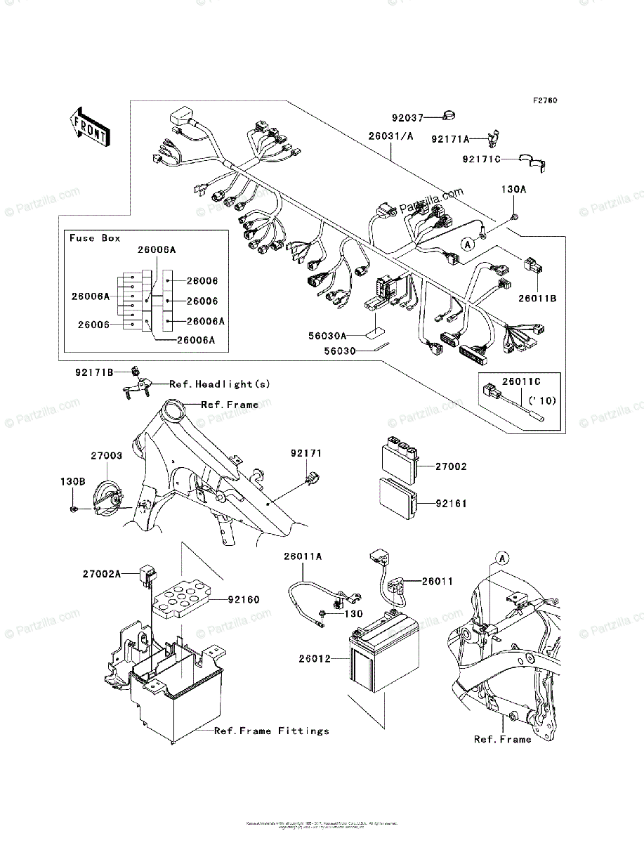 Kawasaki Motorcycle 2011 OEM Parts Diagram for Chassis