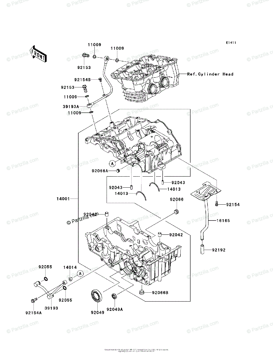 Kawasaki Motorcycle 2014 OEM Parts Diagram for Crankcase