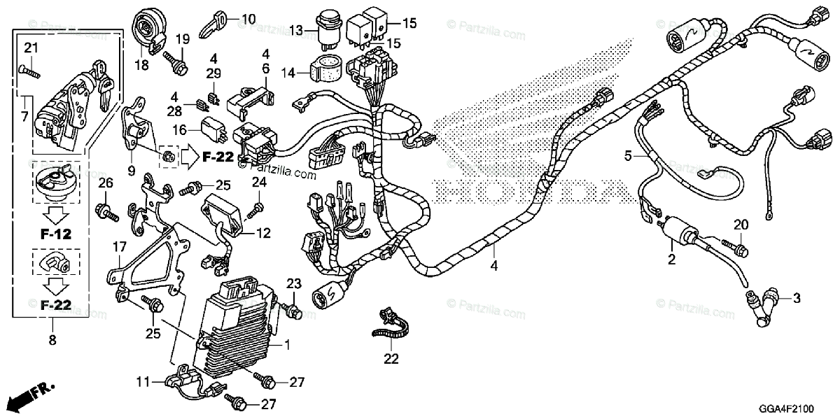Honda Scooter 2014 OEM Parts Diagram for Wire Harness