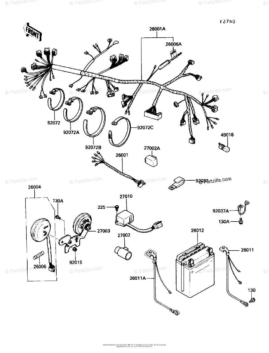 Kawasaki Motorcycle 1990 OEM Parts Diagram for Chassis