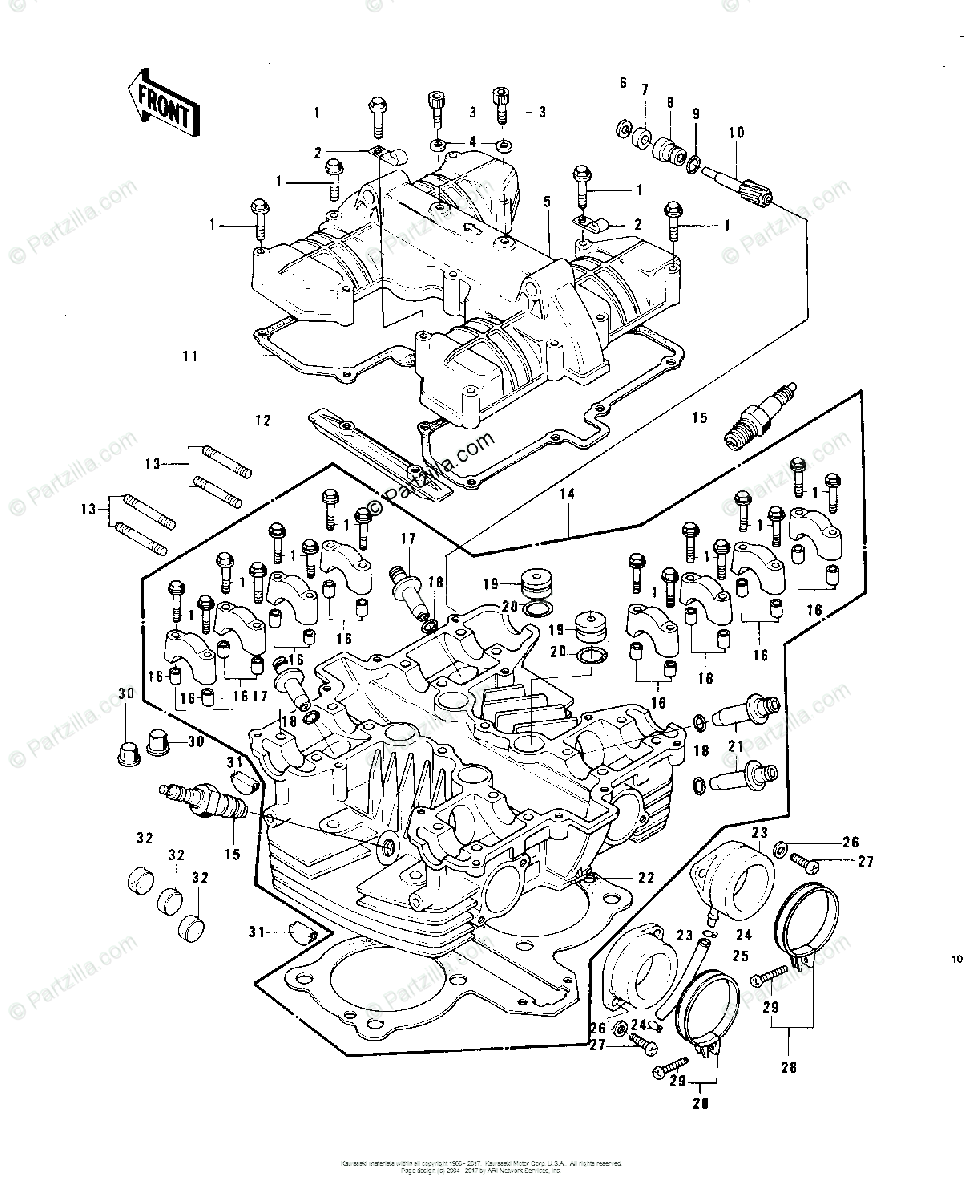 Kawasaki Motorcycle 1978 OEM Parts Diagram for Cylinder