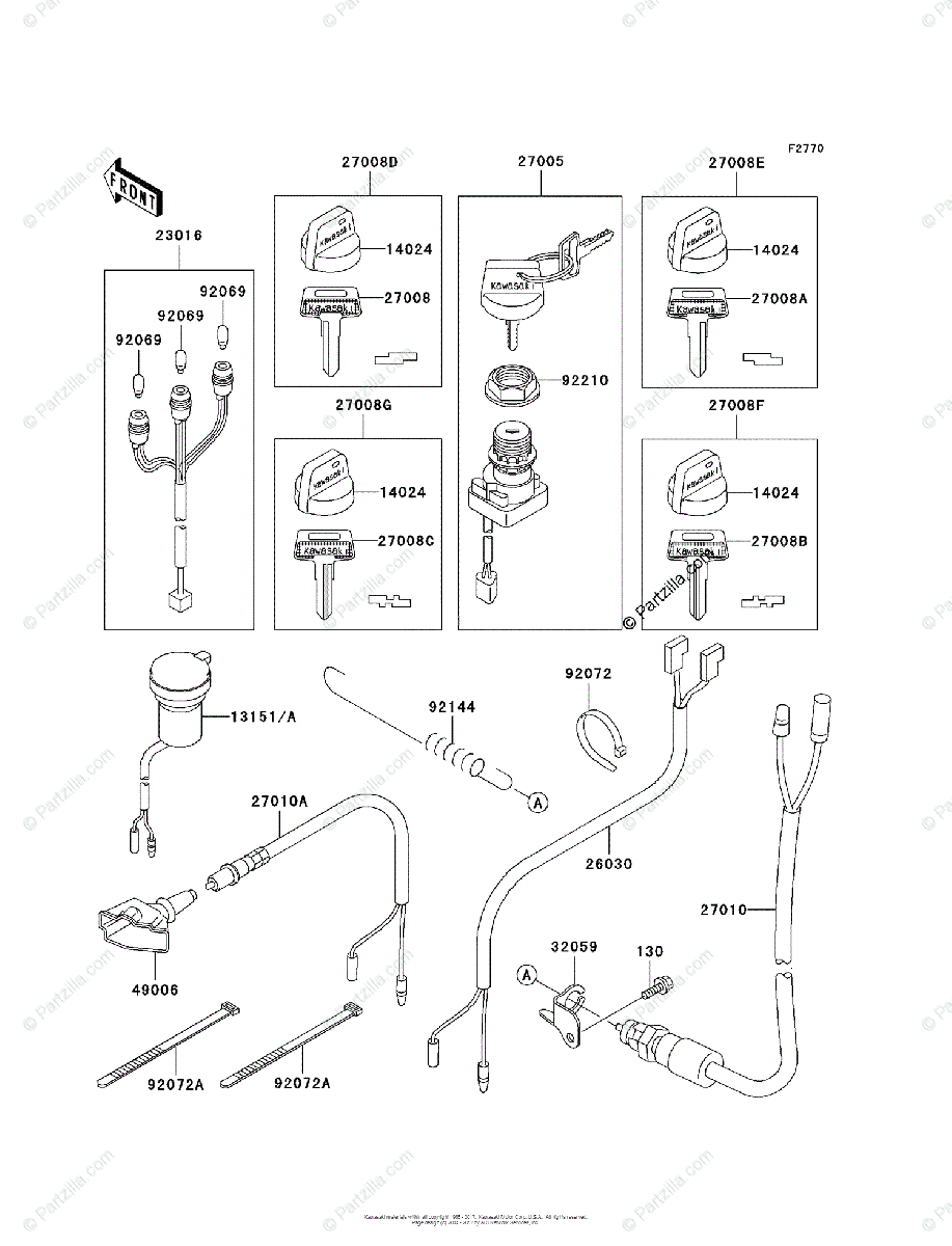 Kawasaki ATV 2000 OEM Parts Diagram for Ignition Switch