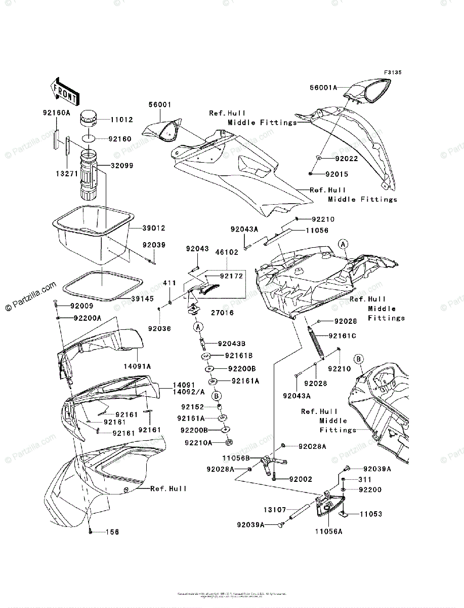 Kawasaki Jet Ski 2011 OEM Parts Diagram for Hull Front