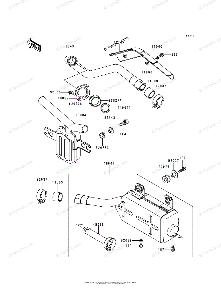Kawasaki ATV 1991 OEM Parts Diagram for Muffler(s