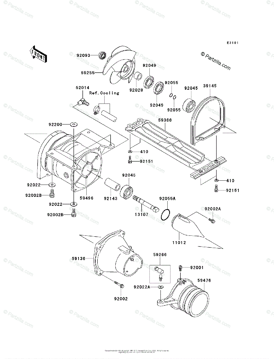 Kawasaki Jet Ski 2009 OEM Parts Diagram for Jet Pump