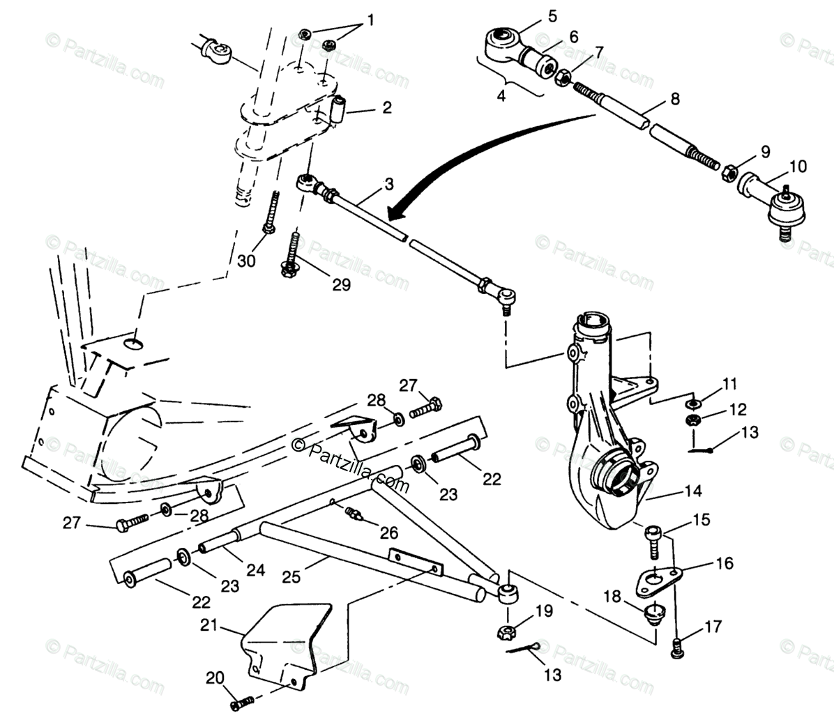 Polaris ATV 1996 OEM Parts Diagram for Aarm/Strut Mounting