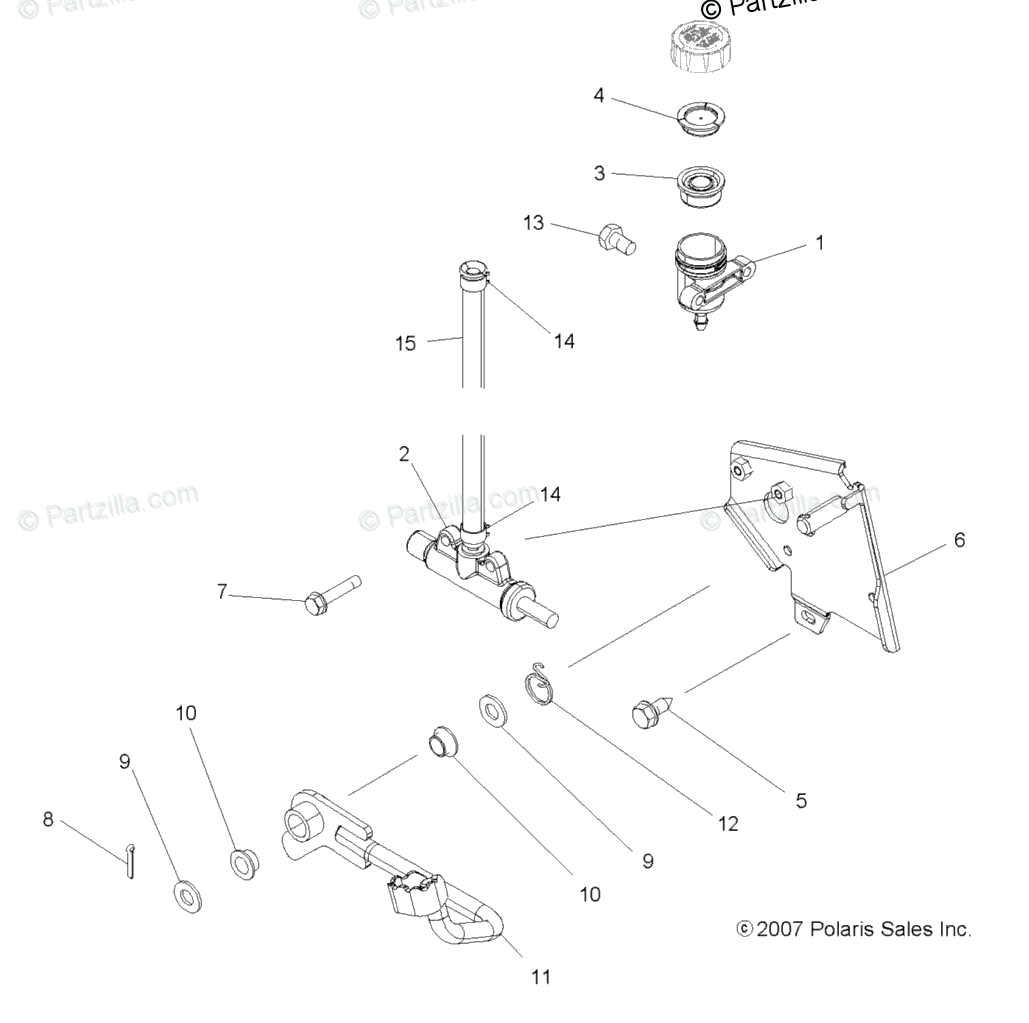 Polaris ATV 2008 OEM Parts Diagram for Brakes, Brake Pedal