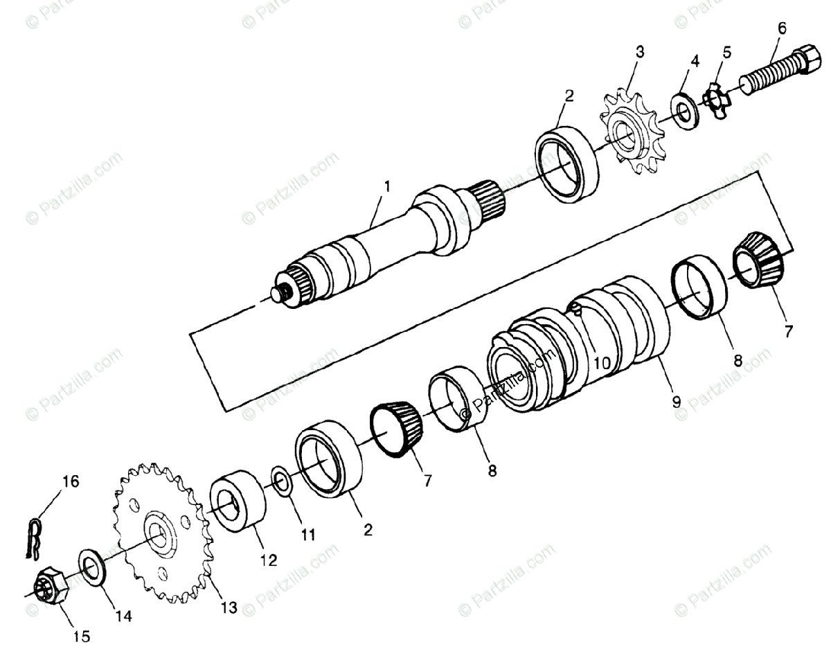 Polaris ATV 1998 OEM Parts Diagram for Center Tightener