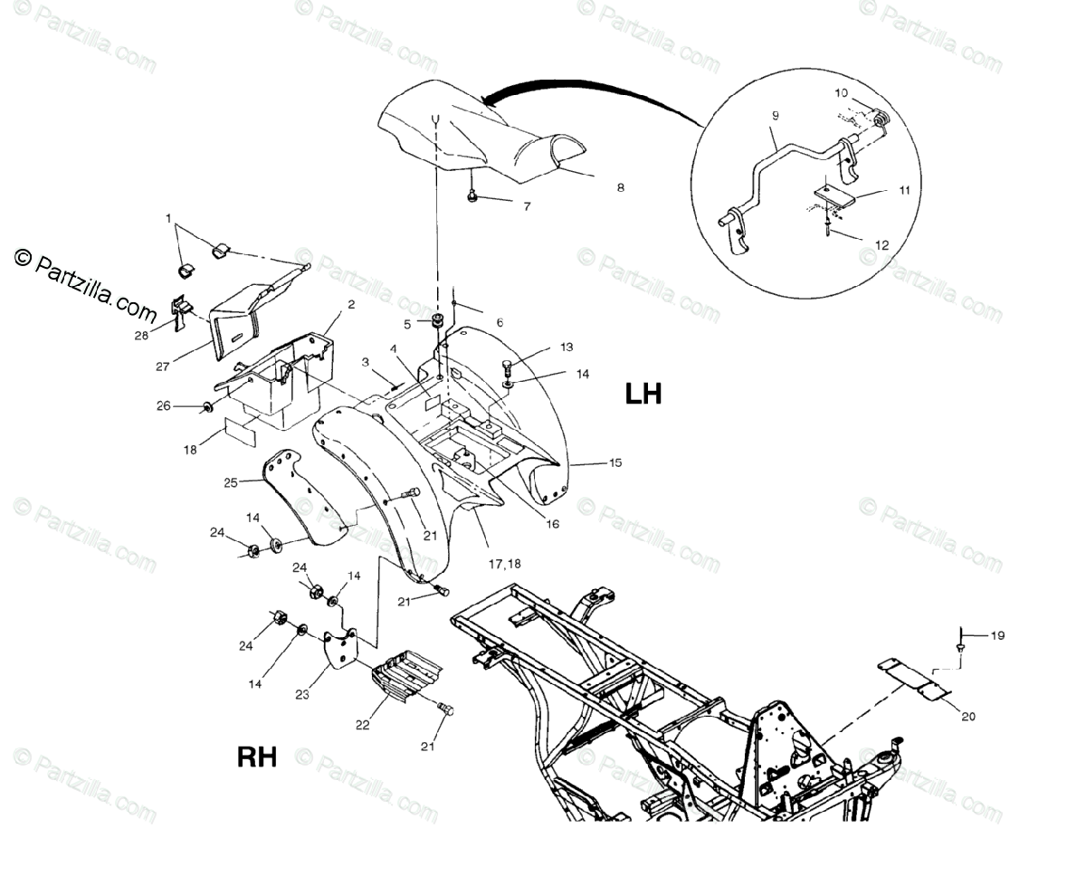 Polaris ATV 2001 OEM Parts Diagram for Rear Cab A01aa32aa