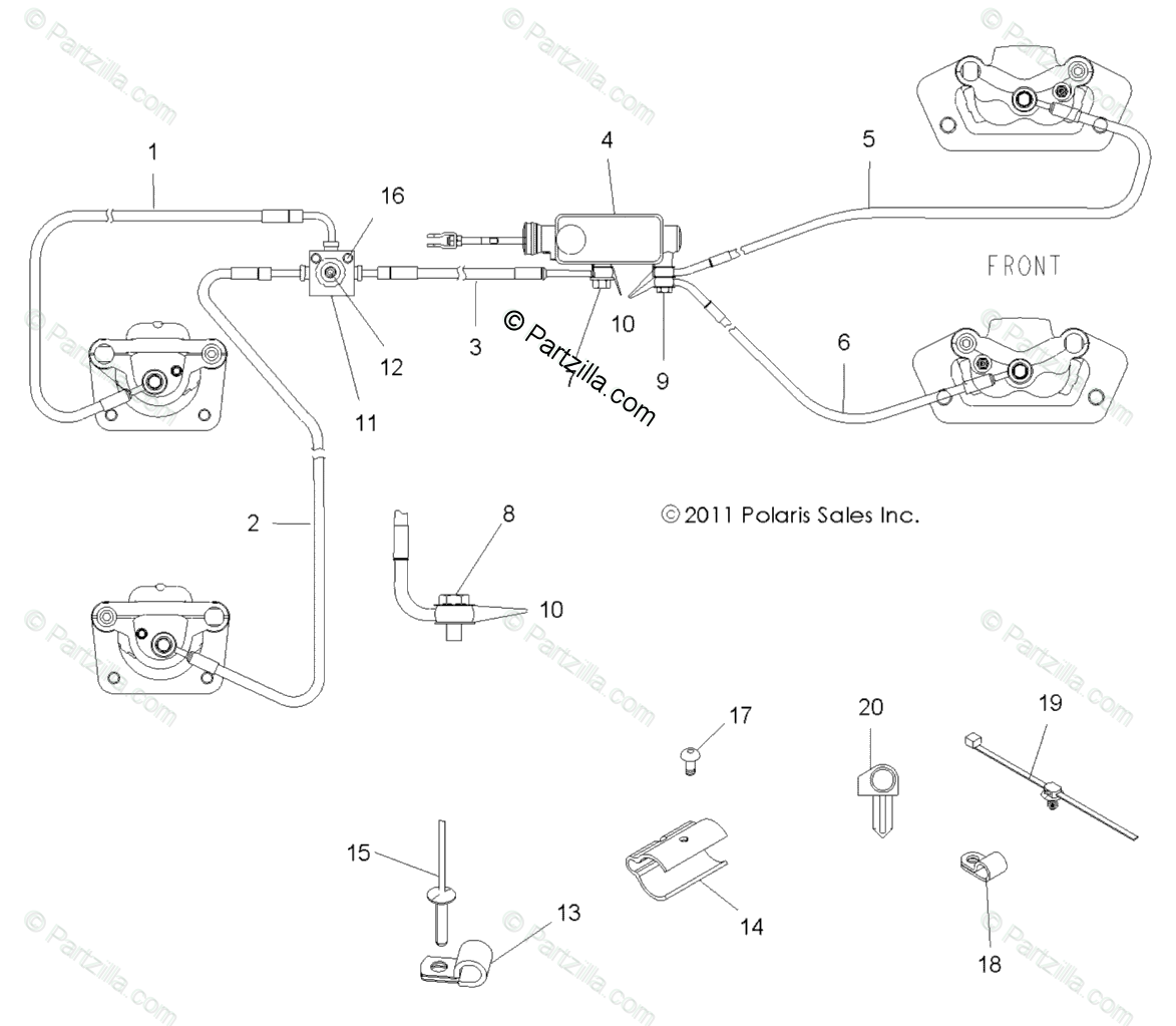Polaris Side by Side 2013 OEM Parts Diagram for Brakes