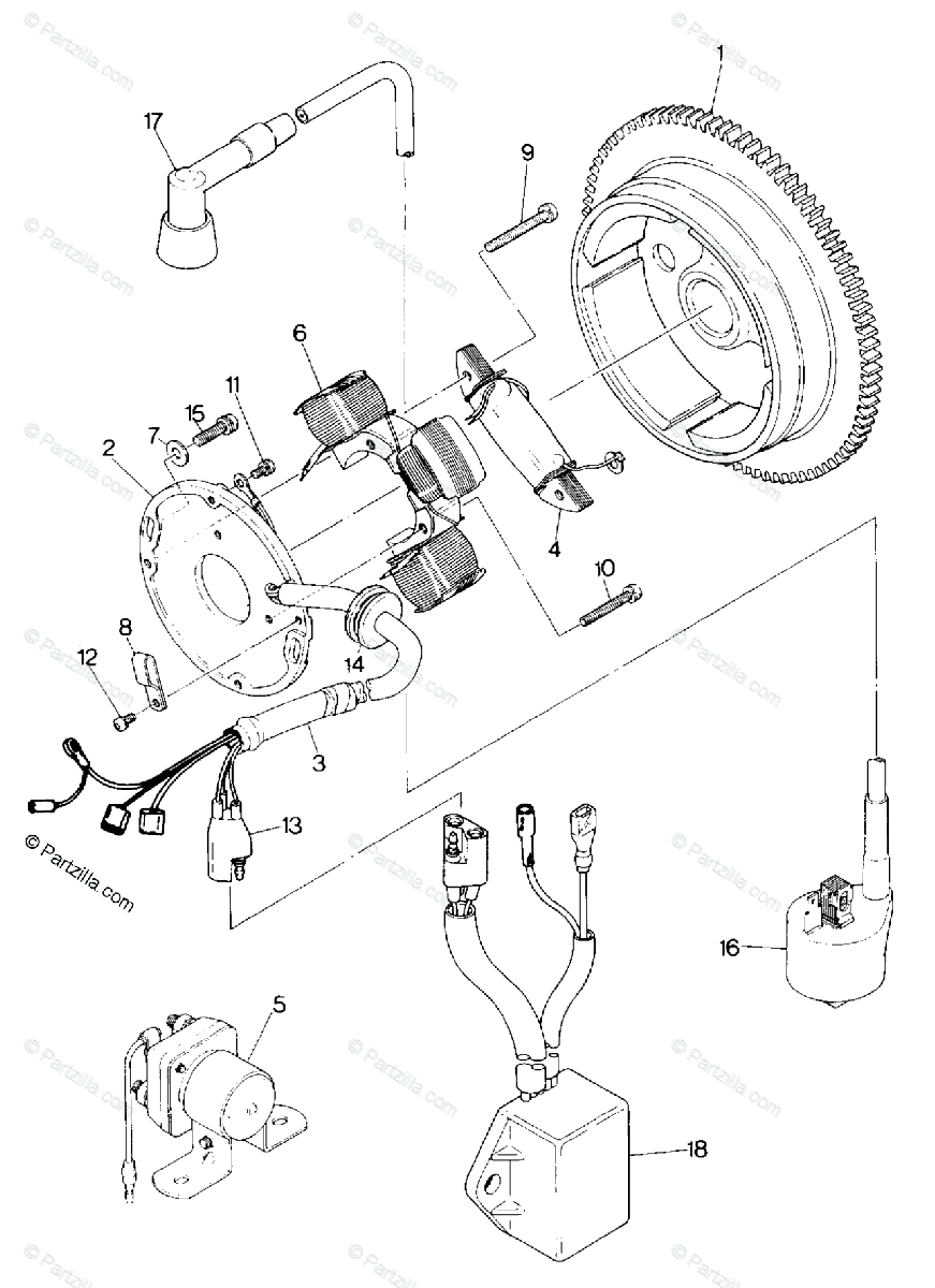 Polaris ATV 1990 OEM Parts Diagram for Magneto Assembly