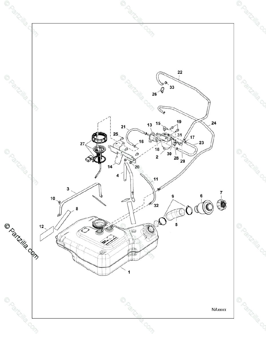 Polaris Side by Side 2015 OEM Parts Diagram for Body, Fuel