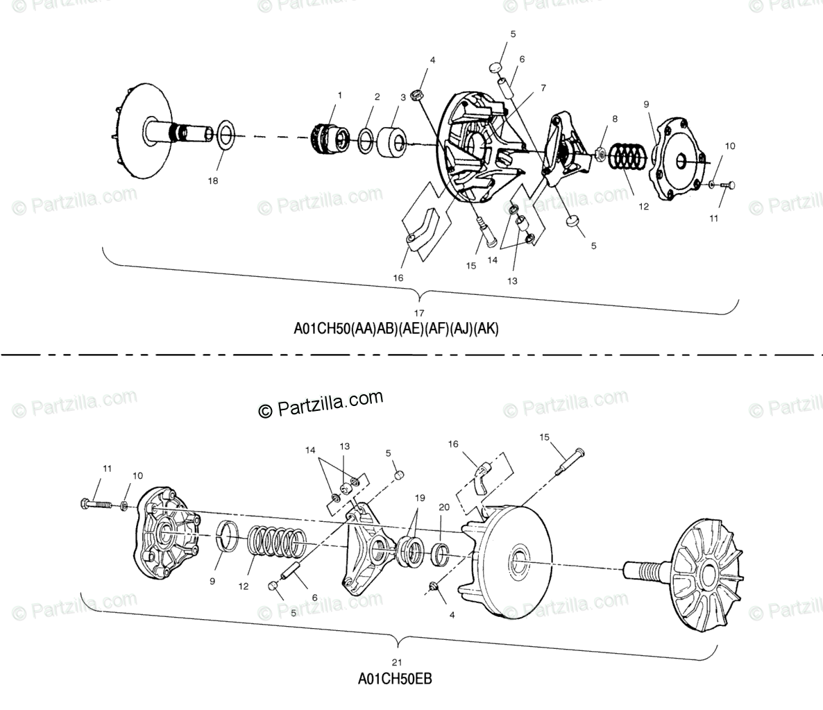 Polaris ATV 2001 OEM Parts Diagram for Drive Clutch