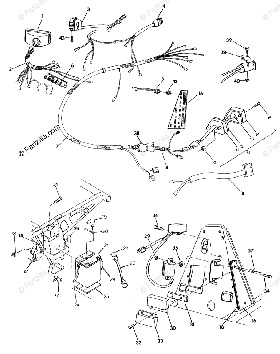 Polaris ATV 1992 OEM Parts Diagram for Wiring Harness 350