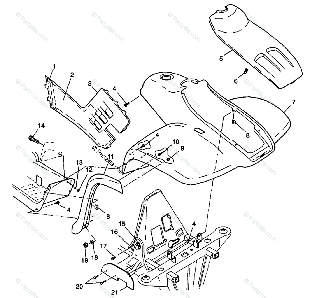 Polaris ATV 1998 OEM Parts Diagram for Front Ca S98ch50e