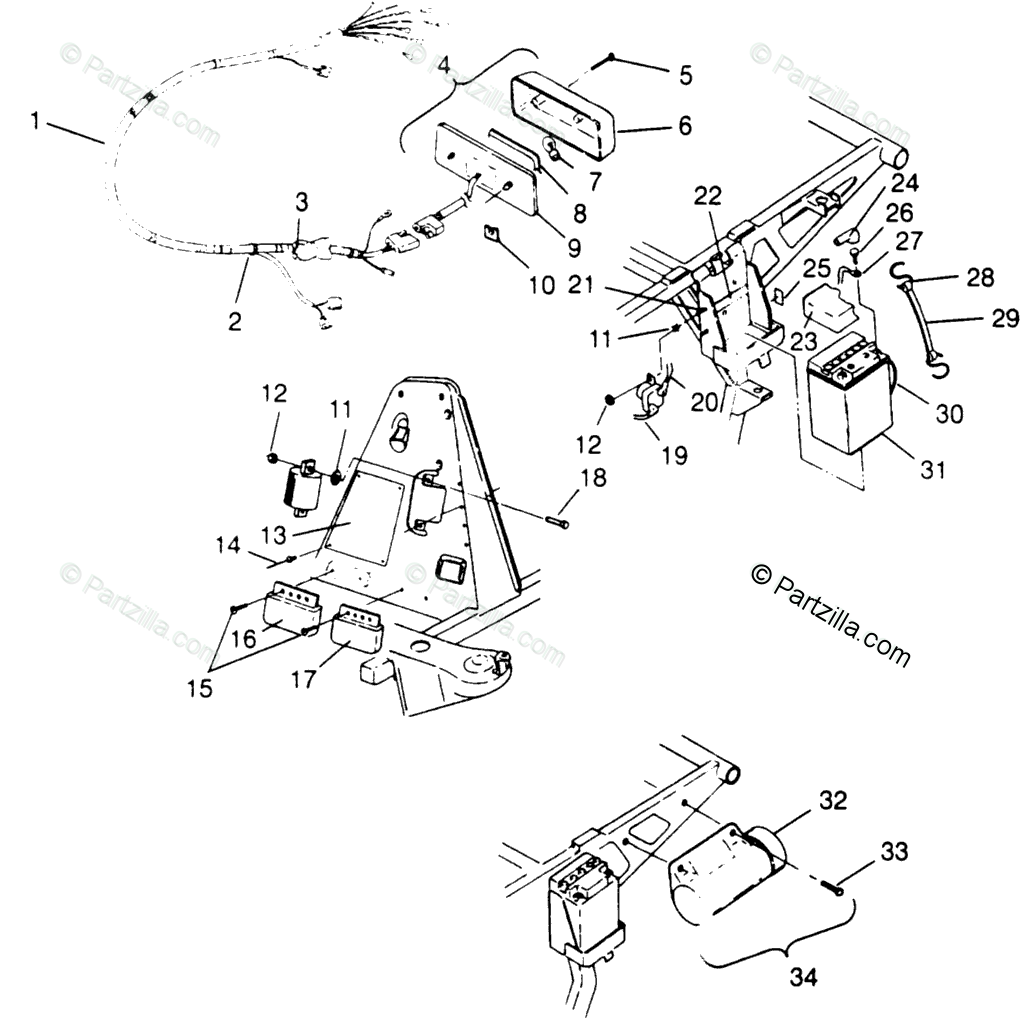 Polaris ATV 1996 OEM Parts Diagram for Electrical