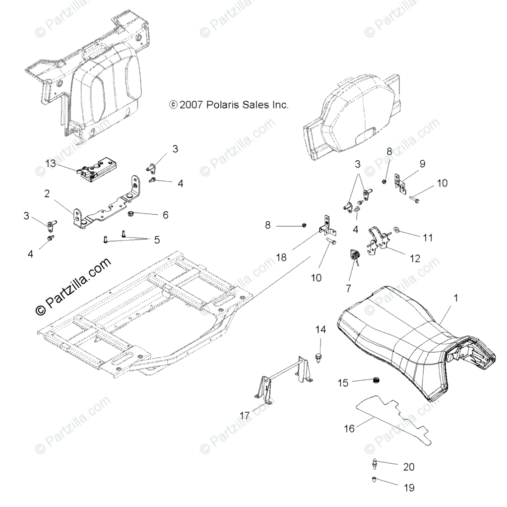 Polaris ATV 2008 OEM Parts Diagram for Body, Seat