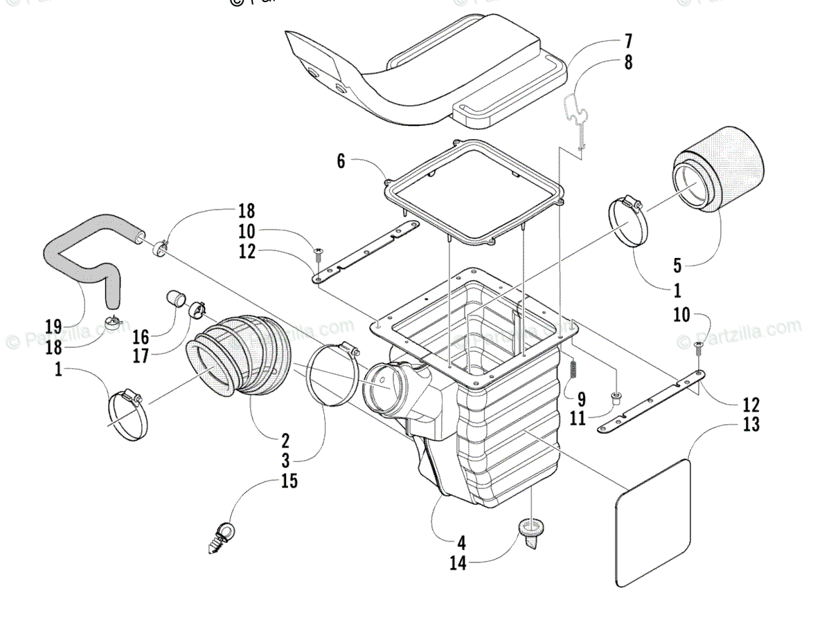 Arctic Cat ATV 2005 OEM Parts Diagram for Air Intake