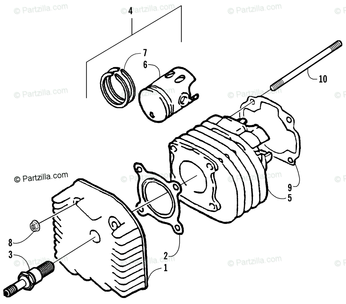 Arctic Cat ATV 2002 OEM Parts Diagram for Cylinder And