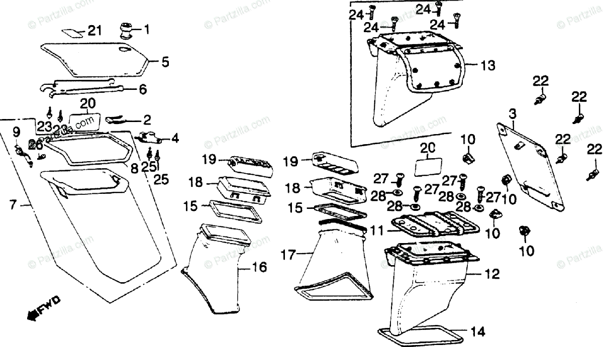 Honda Motorcycle 1981 OEM Parts Diagram for Fairing Pocket