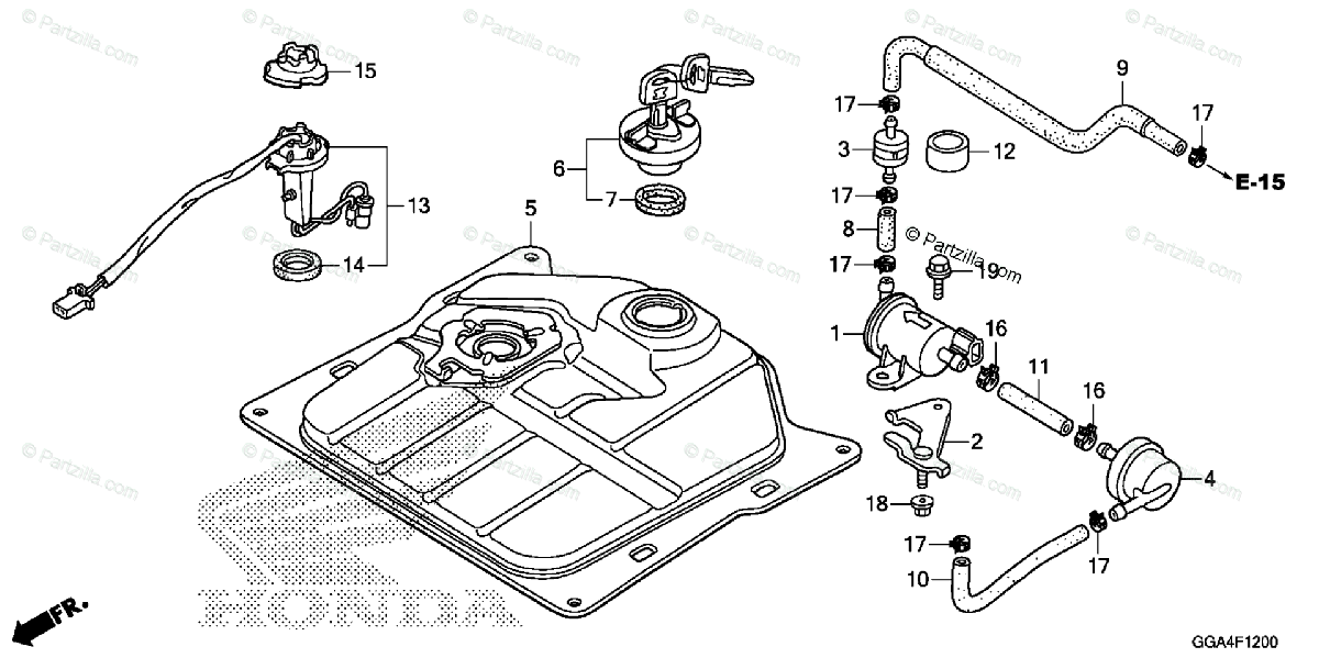 Honda Scooter 2014 OEM Parts Diagram for Fuel Tank
