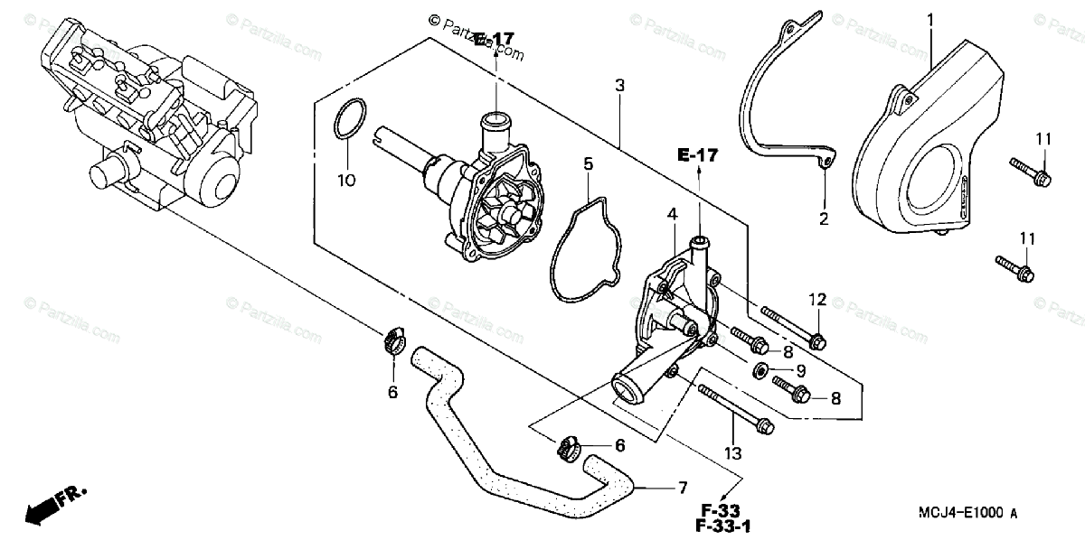 Honda Motorcycle 2002 OEM Parts Diagram for Water Pump