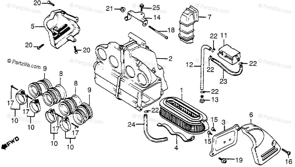 Honda Motorcycle 1982 OEM Parts Diagram for Air Cleaner