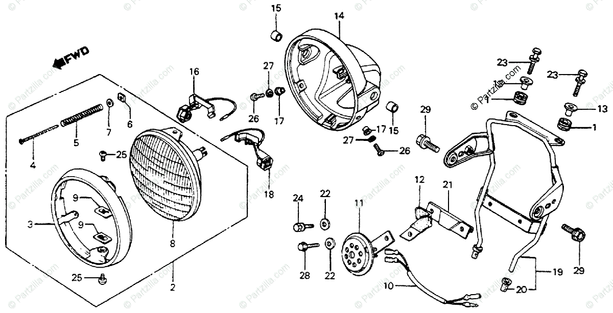 Honda Motorcycle 1981 OEM Parts Diagram for Headlight