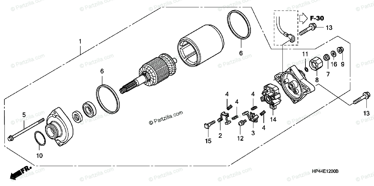 Honda ATV 2007 OEM Parts Diagram for Starter Motor