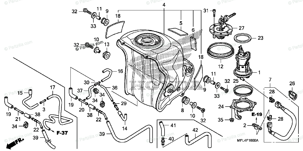 Honda Motorcycle 2008 OEM Parts Diagram for Fuel Tank