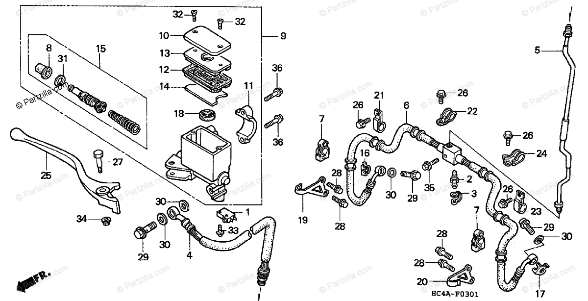 Honda ATV 1994 OEM Parts Diagram for Front Brake Master