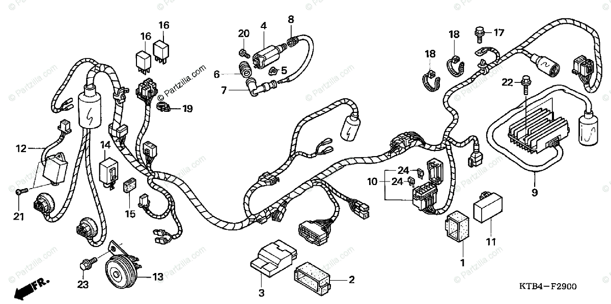 Honda Scooter 2006 OEM Parts Diagram for Wire Harness