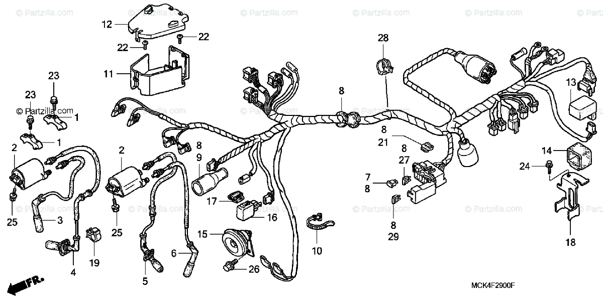 Honda Motorcycle 2007 OEM Parts Diagram for Wire Harness