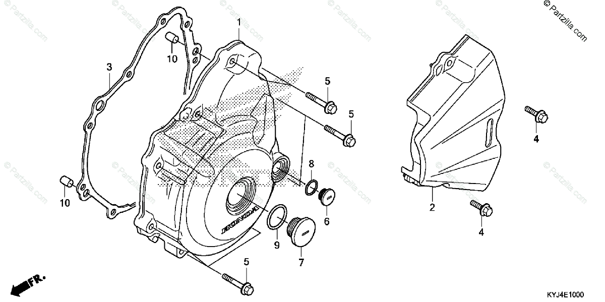 Honda Motorcycle 2013 OEM Parts Diagram for Left Crankcase