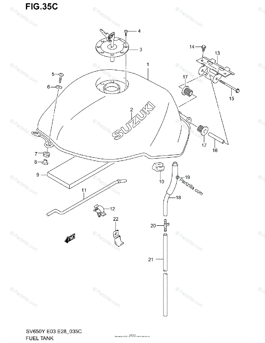 Suzuki Motorcycle 2001 OEM Parts Diagram for FUEL TANK