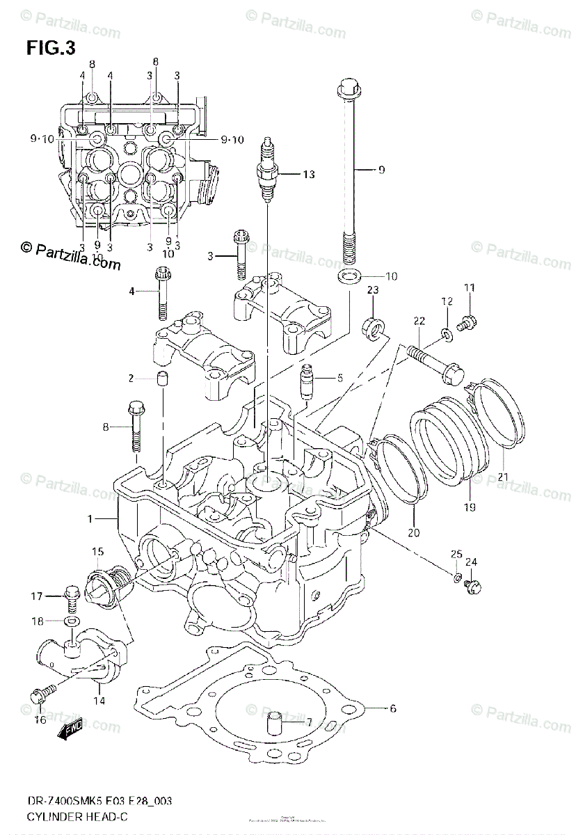 Suzuki Motorcycle 2007 OEM Parts Diagram for CYLINDER HEAD