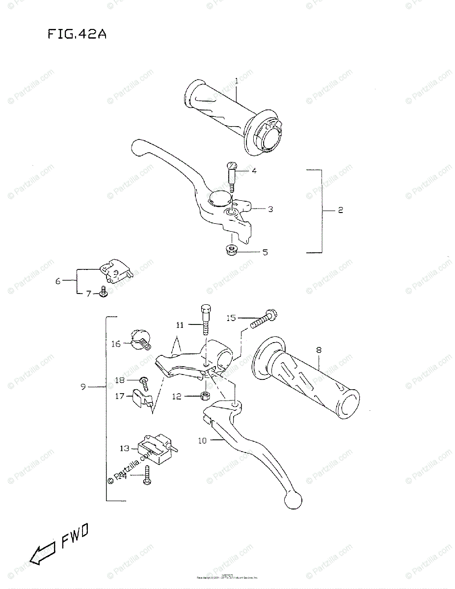 Suzuki Motorcycle 1999 OEM Parts Diagram for HANDLE LEVER