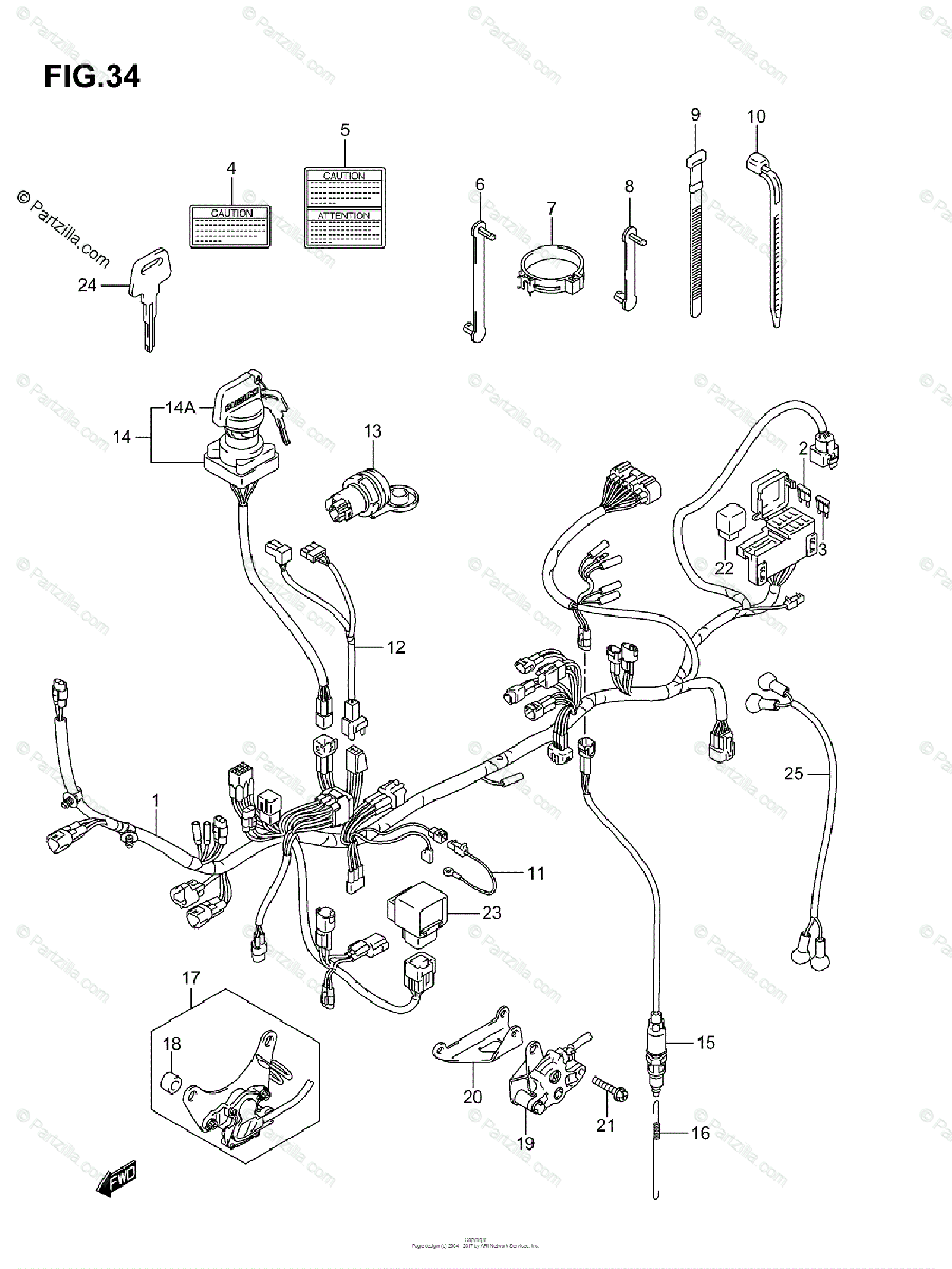 Suzuki ATV 2005 OEM Parts Diagram for WIRING HARNESS
